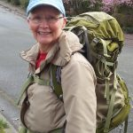 Jackie hiking with pack in Spring 2016