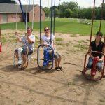 Adults playing